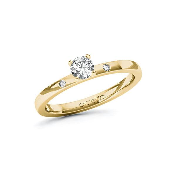 Verlobungsring Diamantring 0,32 ct. G VS & tw, si Gelbgold 585