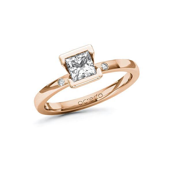 Verlobungsring Diamantring 0,72 ct. G VS & tw, si Rotgold 585