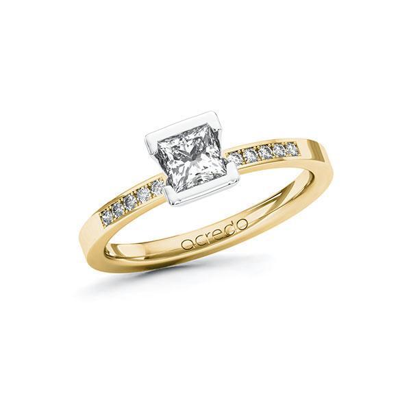 Verlobungsring Diamantring 0,58ct. G VS & tw, si Gelbgold 585 Weißgold 585