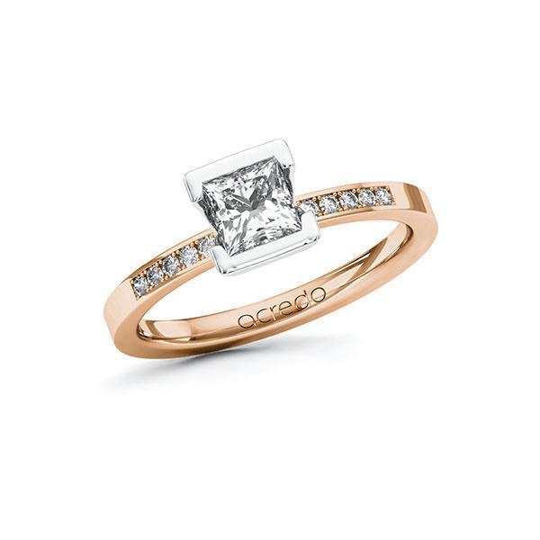 Verlobungsring Diamantring 0,78ct. G VS & tw, si Rotgold 585 Weißgold 585