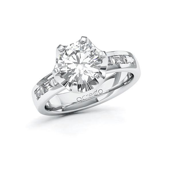 Verlobungsring Diamantring 2,48 ct. G VS & tw, vs Weißgold 585