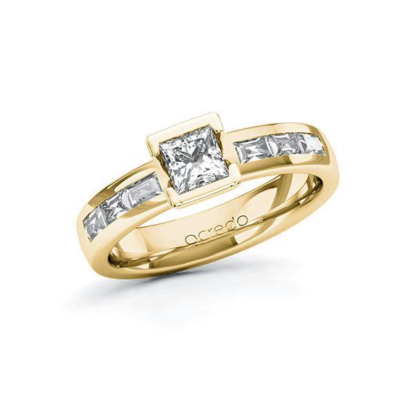 Verlobungsring Diamantring 0,98 ct. G VS & tw, vs Gelbgold 585