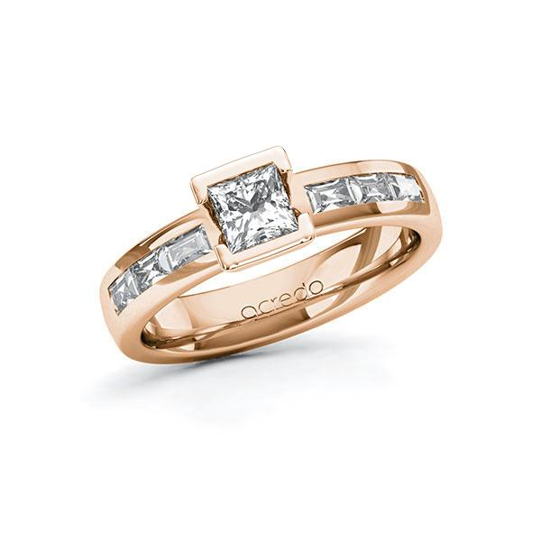 Verlobungsring Diamantring 0,98 ct. G VS & tw, vs Rotgold 585