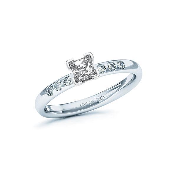 Verlobungsring Diamantring 0,52 ct. G VS & tw, si Platin 950