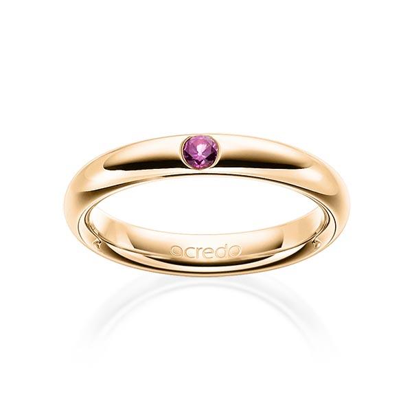 Trauringe Roségold 585 mit 0,08 ct. Saphir Pink (A 10)