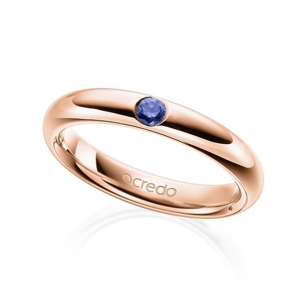 Trauringe Rotgold 585 mit 0,08 ct. Saphir Blau (A 10)