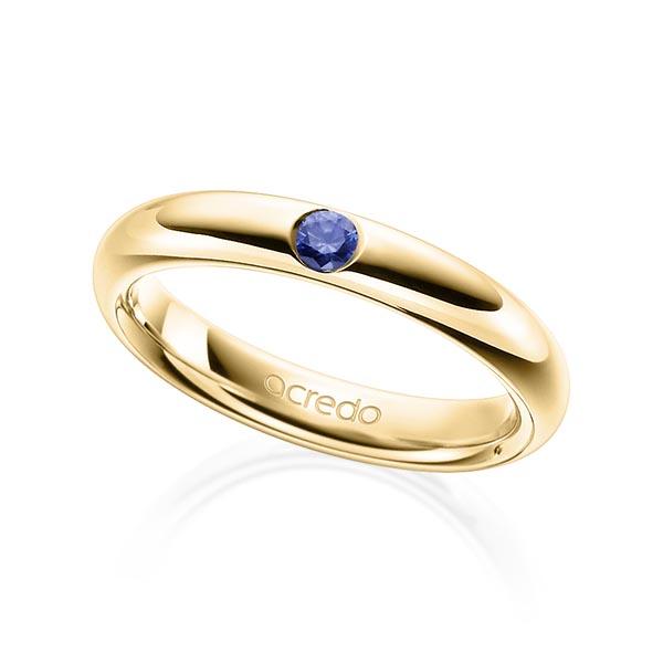 Trauringe Gelbgold 585 mit 0,08 ct. Saphir Blau (A 10)