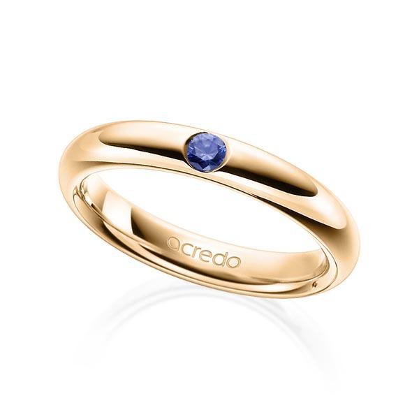 Trauringe Roségold 585 mit 0,08 ct. Saphir Blau (A 10)