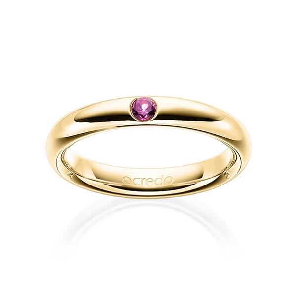 Trauringe Gelbgold 585 mit 0,08 ct. Saphir Pink (A 10)