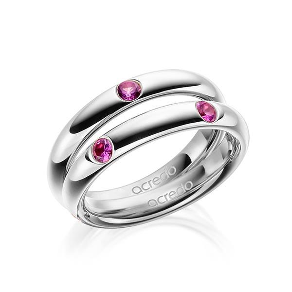 Trauringe Graugold 585 mit 0,08 ct. Saphir Pink (A 10)