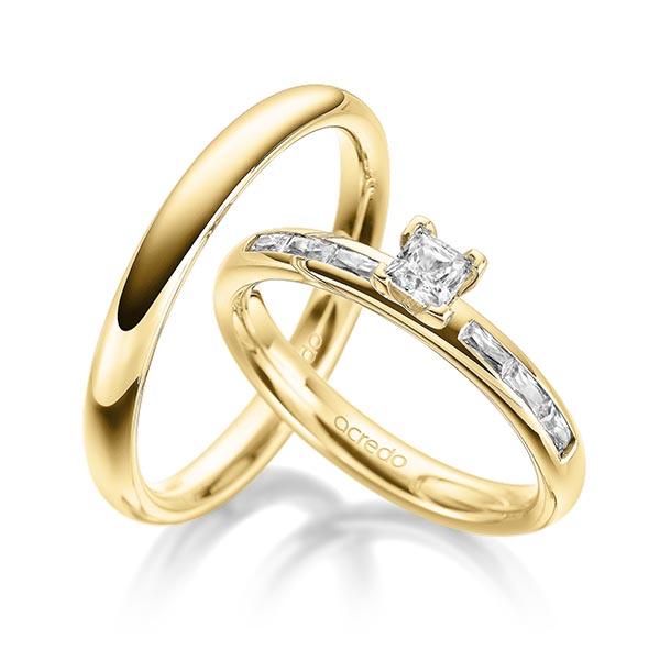 Verlobungsring Diamantring 0,6 ct. G VS & tw, vs Gelbgold 585