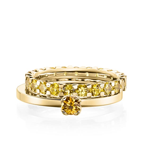 Verlobungsring Diamantring 0,25 ct. Saphir Gelb (A 8) Gelbgold 585