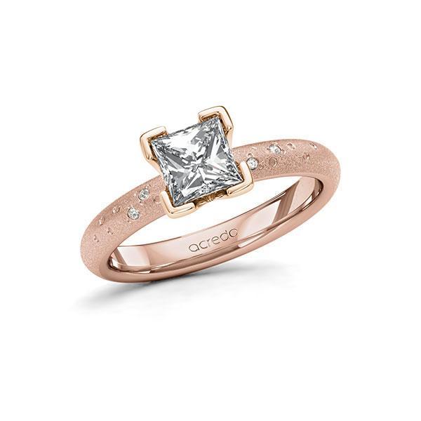 Verlobungsring Diamantring 1,03 ct. G VS & tw, si Rotgold 585