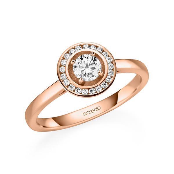 Verlobungsring Diamantring 0,405 ct. G SI & tw, si Rotgold 585