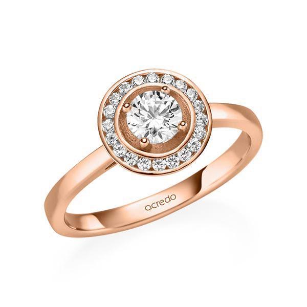 Verlobungsring Diamantring 0,56 ct. G SI & tw, si Rotgold 585