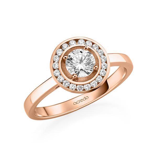 Verlobungsring Diamantring 0,66 ct. G SI & tw, si Rotgold 585