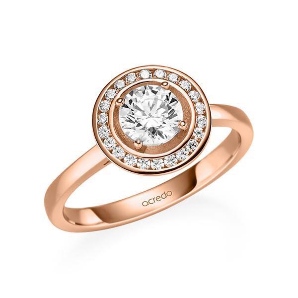 Verlobungsring Diamantring 0,876 ct. G SI & tw, si Rotgold 585