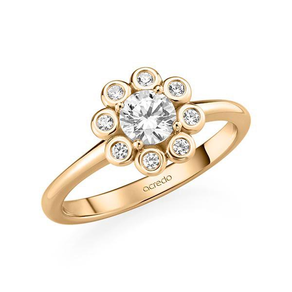 Verlobungsring Diamantring 0,62 ct. G SI & tw, si Roségold 585