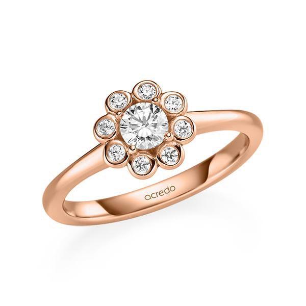 Verlobungsring Diamantring 0,42 ct. G SI & tw, si Rotgold 585