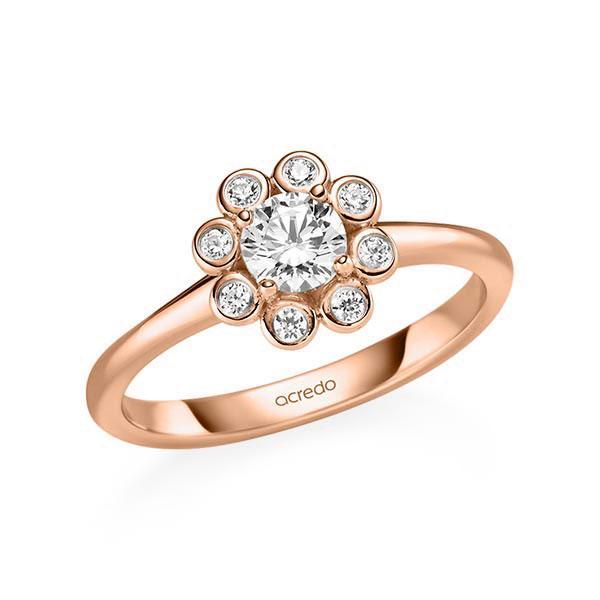 Verlobungsring Diamantring 0,52 ct. G SI & tw, si Rotgold 585