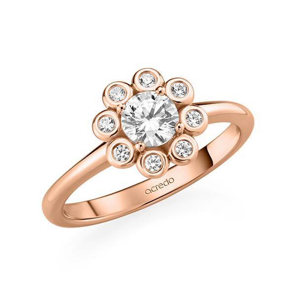 Verlobungsring Diamantring 0,62 ct. G SI & tw, si Rotgold 585