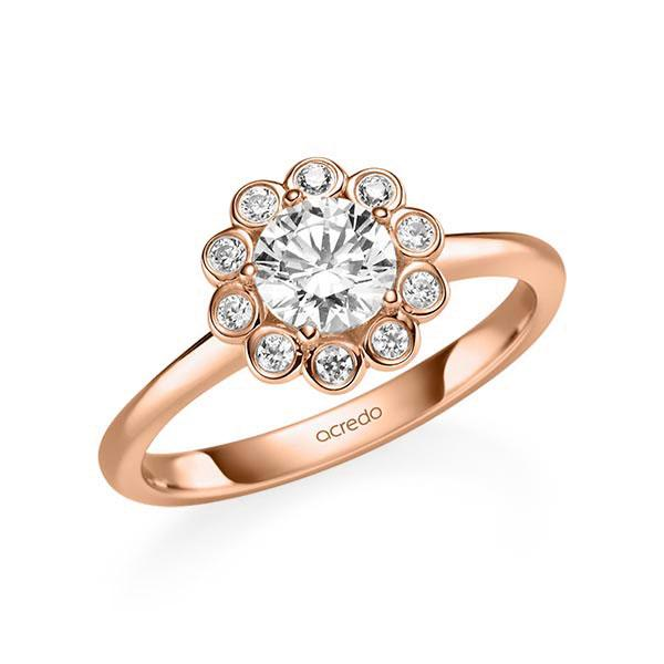 Verlobungsring Diamantring 0,85 ct. G SI & tw, si Rotgold 585