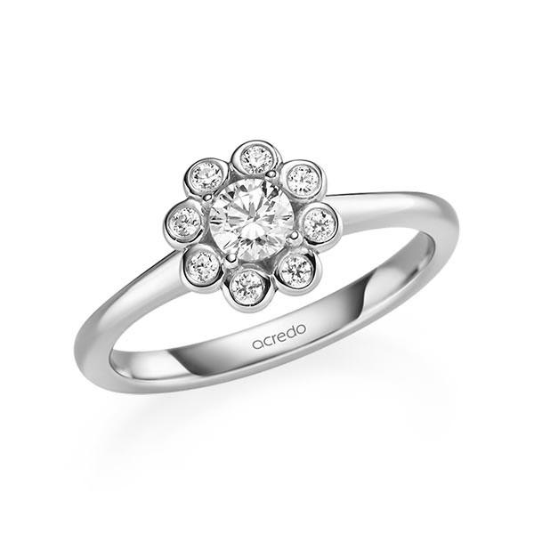 Verlobungsring Diamantring 0,42 ct. G SI & tw, si Weißgold 585