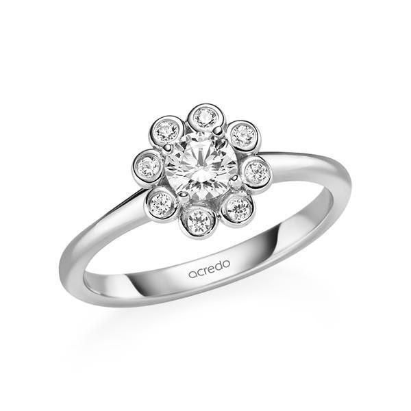 Verlobungsring Diamantring 0,52 ct. G SI & tw, si Weißgold 585