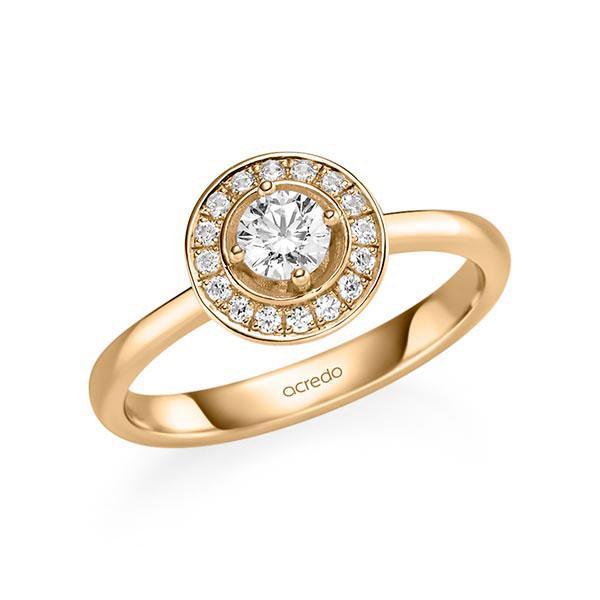 Verlobungsring Diamantring 0,428 ct. G SI & tw, si Roségold 585