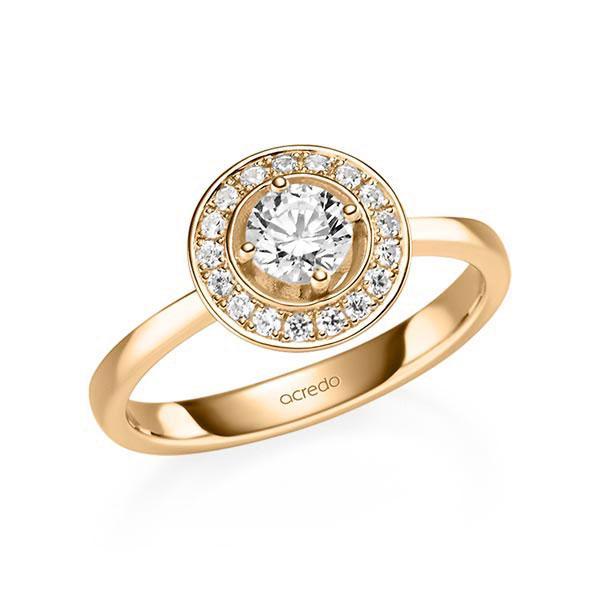 Verlobungsring Diamantring 0,57 ct. G SI & tw, si Roségold 585