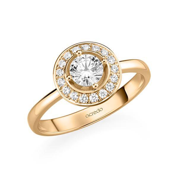 Verlobungsring Diamantring 0,67 ct. G SI & tw, si Roségold 585