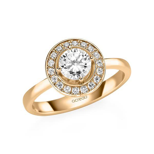 Verlobungsring Diamantring 0,88 ct. G SI & tw, si Roségold 585