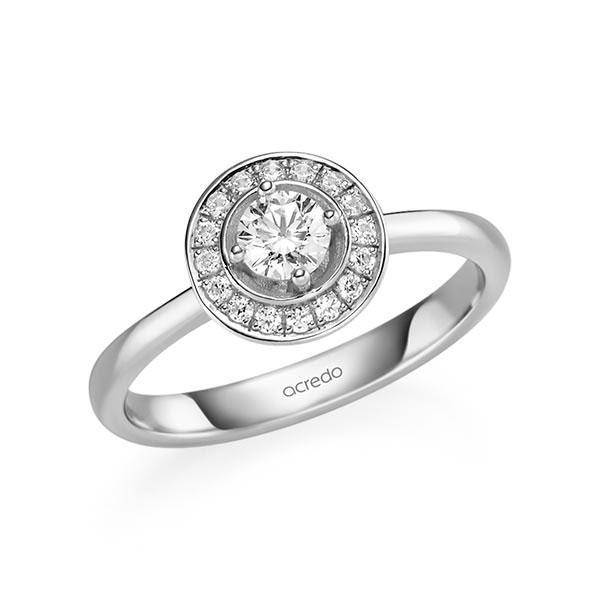 Verlobungsring Diamantring 0,428 ct. G SI & tw, si Weißgold 585