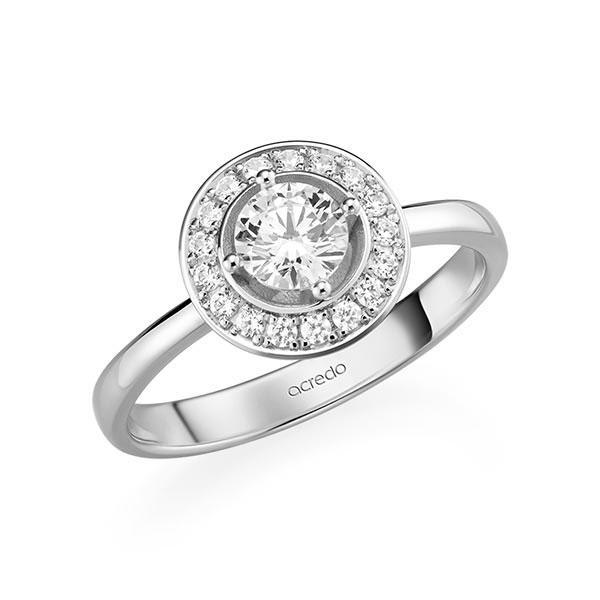 Verlobungsring Diamantring 0,67 ct. G SI & tw, si Weißgold 585
