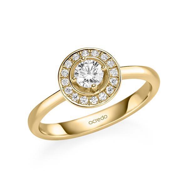 Verlobungsring Diamantring 0,428 ct. G SI & tw, si Gelbgold 585