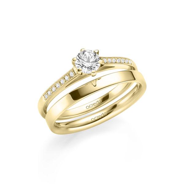 Verlobungsring Diamantring 0,47 ct. G SI & tw, si Gelbgold 585
