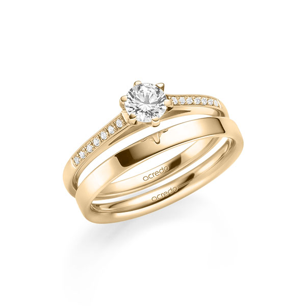 Verlobungsring Diamantring 0,47 ct. G SI & tw, si Roségold 585