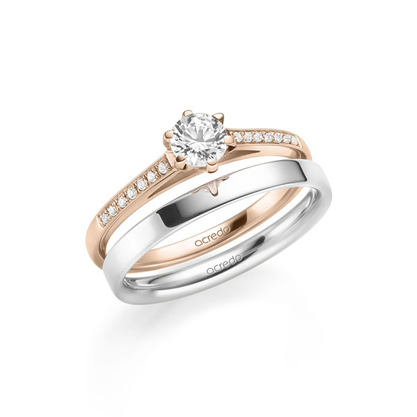 Verlobungsring Diamantring 0,47 ct. G SI & tw, si Rotgold 585