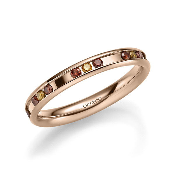 Trauringe Rotgold 585 mit 0,42 ct. Cherry Red & Cognac