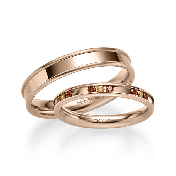 Trauringe Rotgold 585 mit 0,42 ct. Cognac & Cherry Red