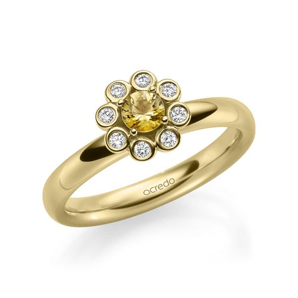 Verlobungsring Diamantring 0,37ct. Saphir Gelb (A 8) & tw, si Gelbgold 585