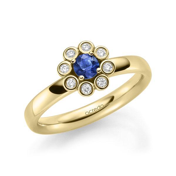 Verlobungsring Diamantring 0,37ct. Saphir Blau (A 10) & tw, si Gelbgold 585