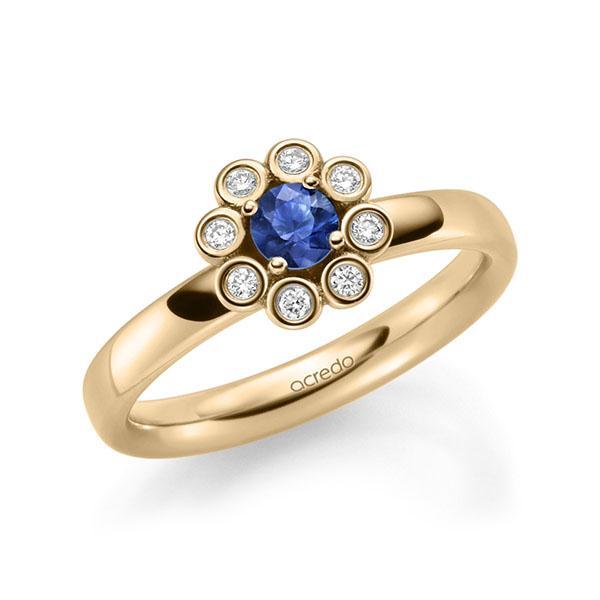 Verlobungsring Diamantring 0,37ct. Saphir Blau (A 10) & tw, si Roségold 585