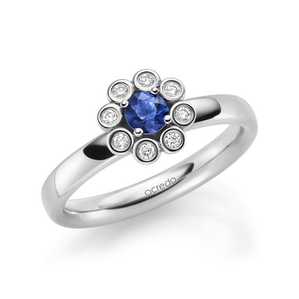 Verlobungsring Diamantring 0,37ct. Saphir Blau (A 10) & tw, si Weißgold 585