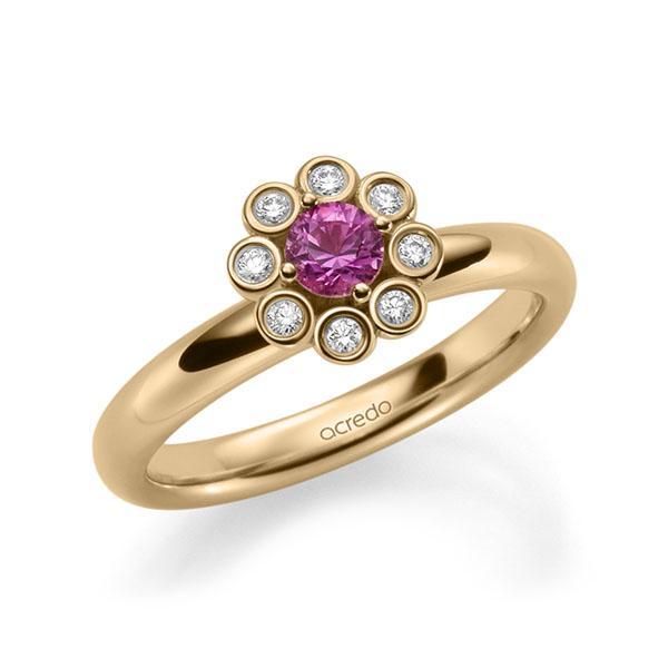 Verlobungsring Diamantring 0,37ct. Saphir Pink (A 10) & tw, si Roségold 585
