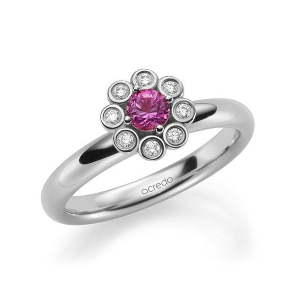Verlobungsring Diamantring 0,37ct. Saphir Pink (A 10) & tw, si Weißgold 585