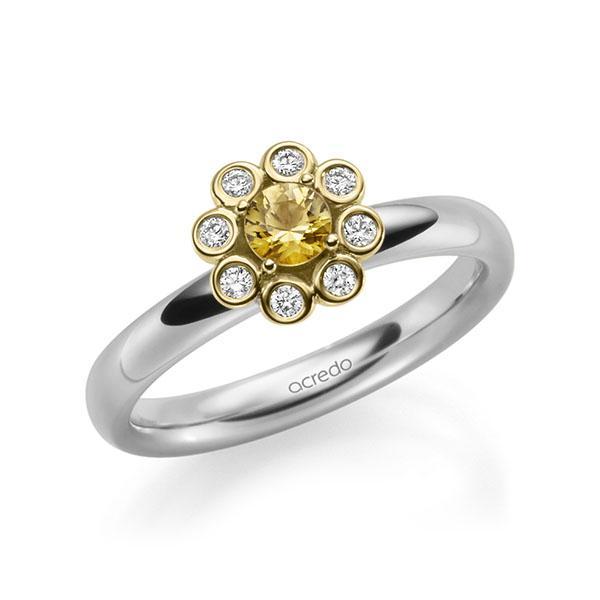 Verlobungsring Diamantring 0,37ct. Saphir Gelb (A 8) & tw, si Weißgold 585 Gelbgold 585