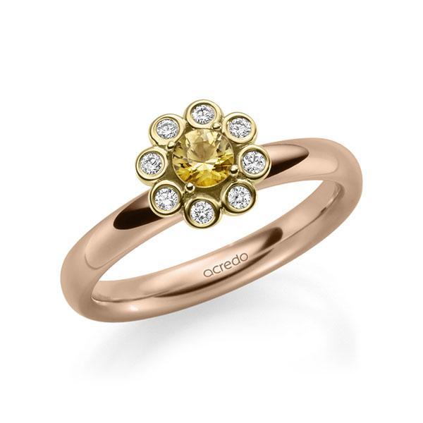 Verlobungsring Diamantring 0,37ct. Saphir Gelb (A 8) & tw, si Rotgold 585 Gelbgold 585