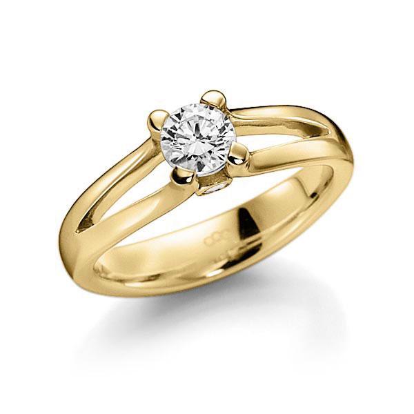 Verlobungsring Diamantring 0,4 ct. G VS & tw, si Gelbgold 585
