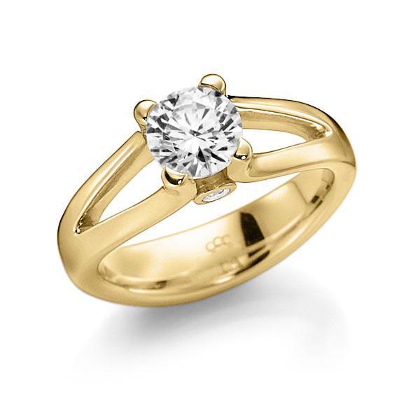 Verlobungsring Diamantring 1 ct. G VS & tw, si Gelbgold 585